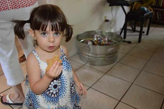 That's my youngest, Lila, enjoying her birthday cookies.
