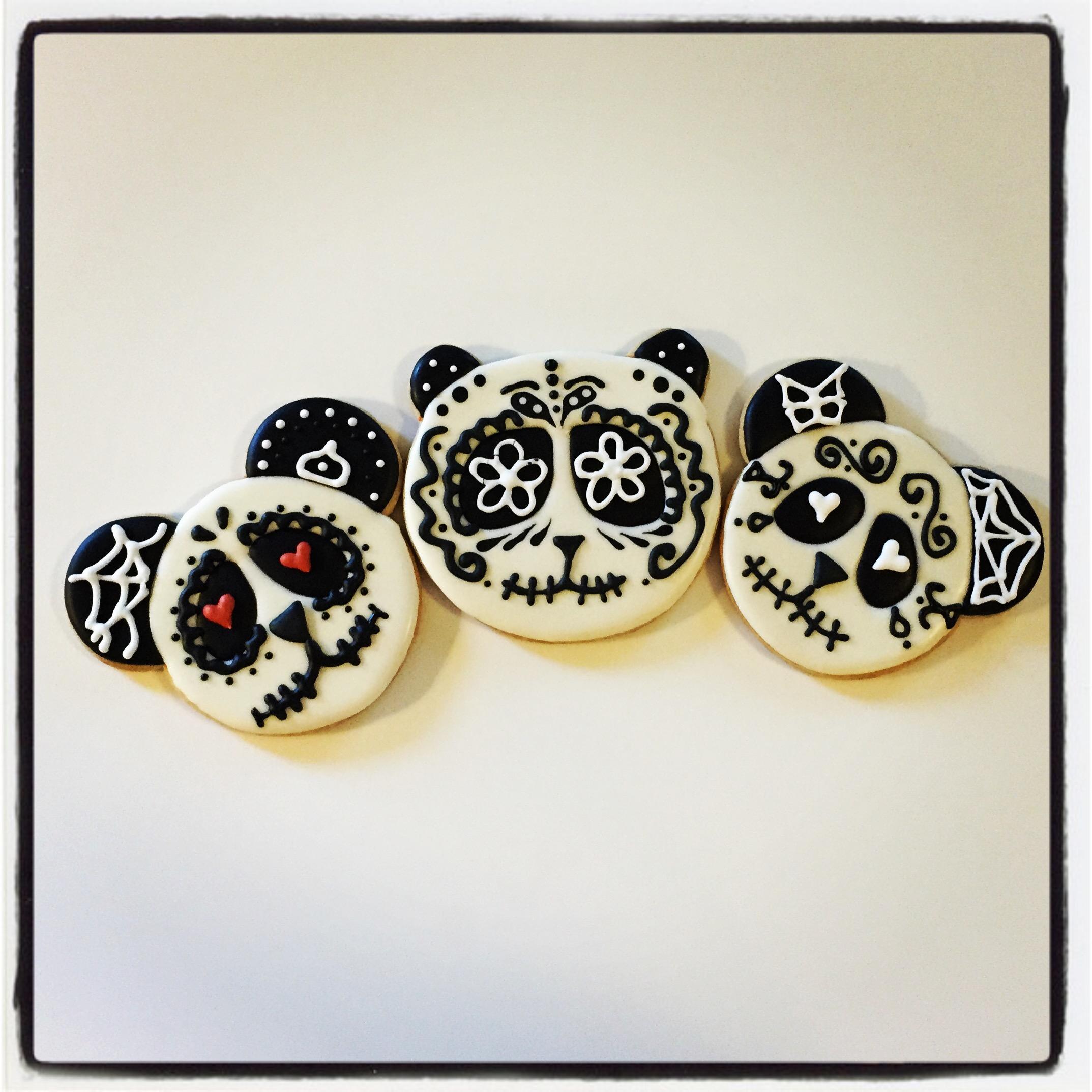 Panda Sugar Skulls   Sugarpie Custom Cookies
