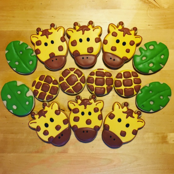 Sweet little giraffe cookies for a 4 year old birthday